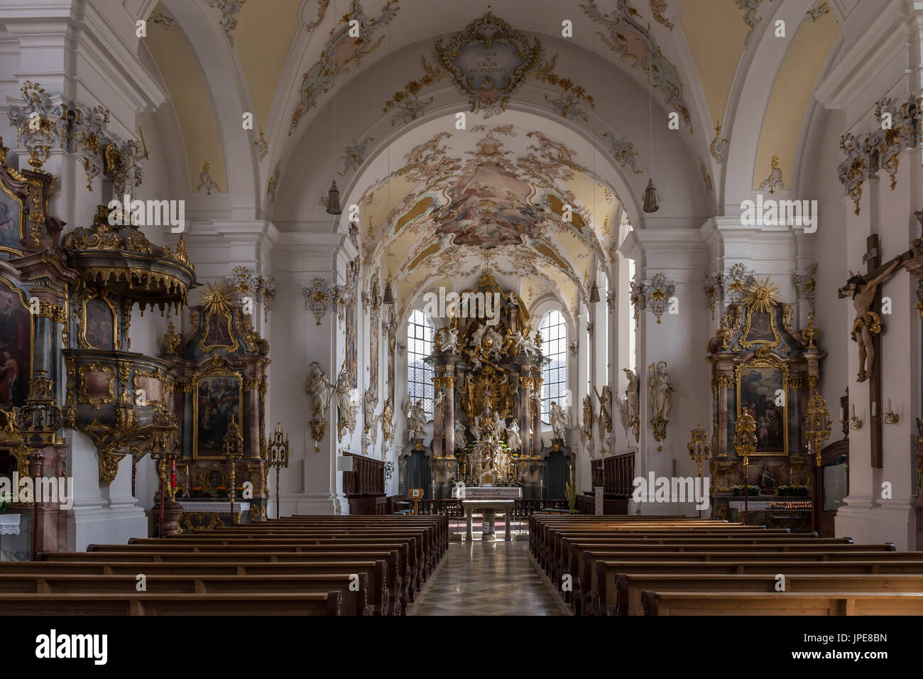 Schongau Oberbayern, Bavaria, Germany, Europe. The Cathedral of Pfarrkirche Mariae Himmelfahrt - Stock Image