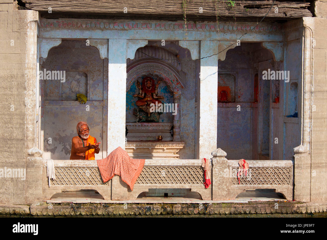 Asia,India,Uttar Pradesh,Varanasi district. Sadhu prayng Stock Photo