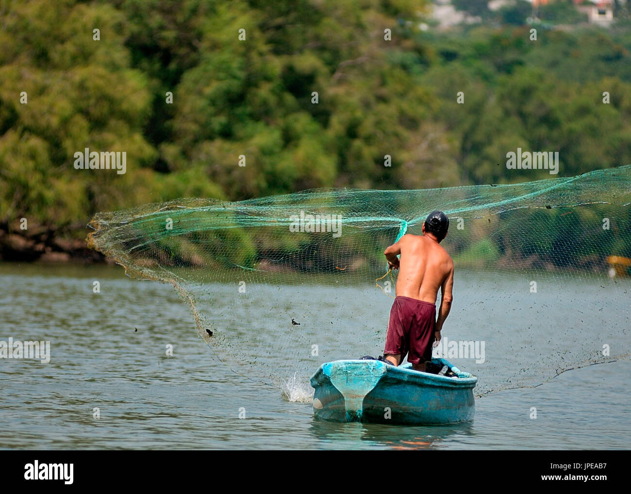 Fisherman of the Sumidero Canyon. Tuxtla Gutiérrez, Chiapas, Mexico. - Stock Image