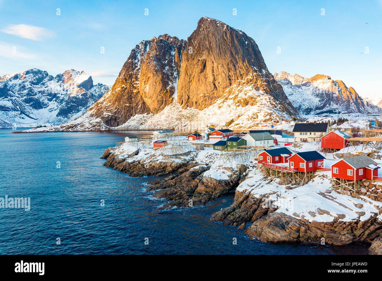 Hamnoy, Lofoten islands, Norway. winter view in a sunny day - Stock Image