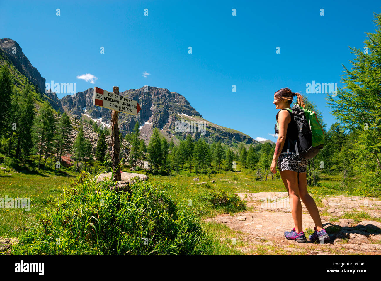 Europe, Italy, Trentino Alto Adige. hiker looks signage CAI / SAT 628 along the trial  from the Cimon di Bocche, Stock Photo