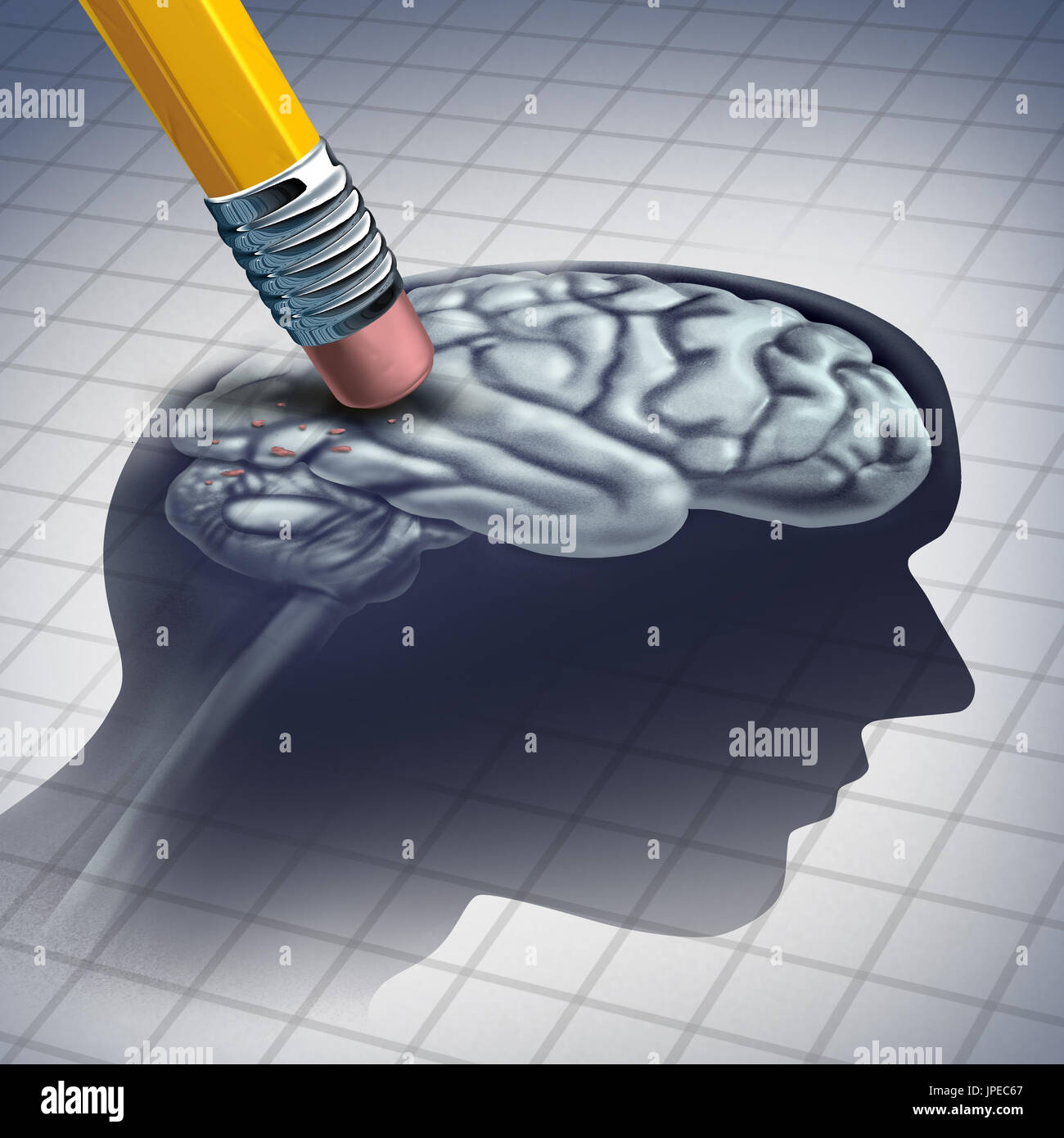 Dementia illness and disease as a loss of brain function and memories as alzheimers as a medical health care icon of neurology and mental problems. - Stock Image