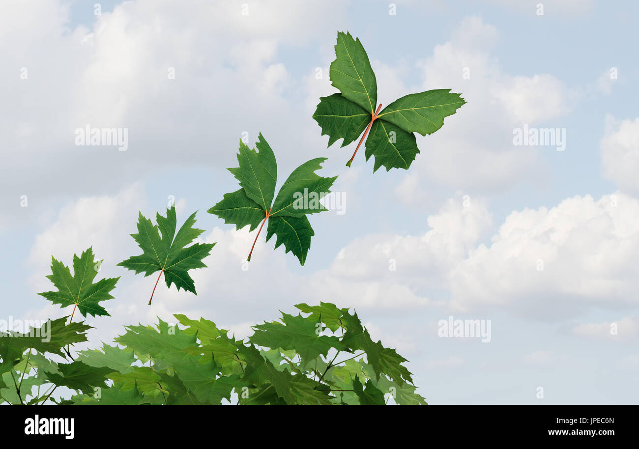 Imagination idea and transition concept as a leaf changing to a butterfly shape as a fantasy travel and amazing inspirational spirit symbol. - Stock Image