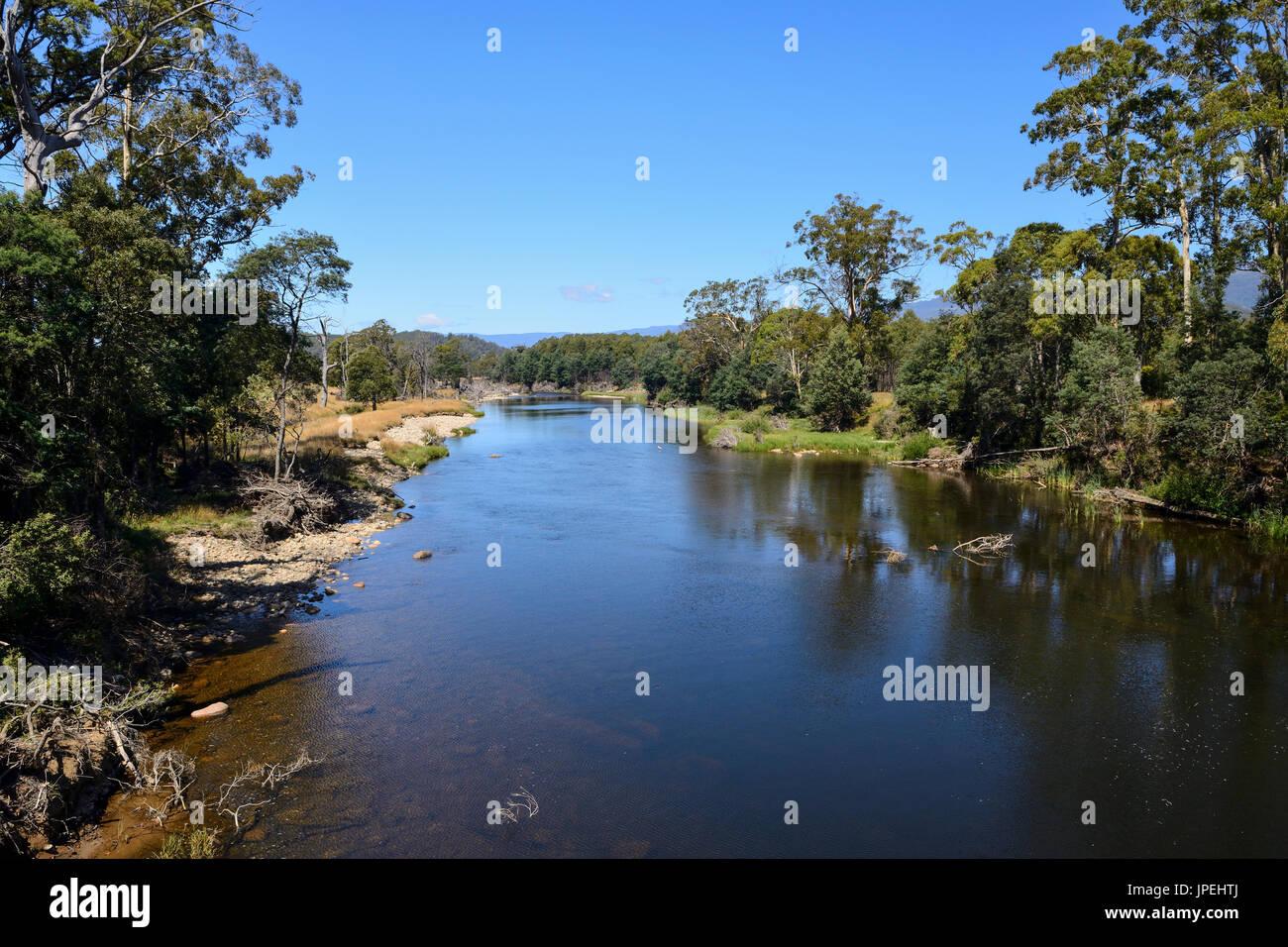 View of Mersey River from trestle bridge on Liena Road in Northern Tasmania, Australia - Stock Image