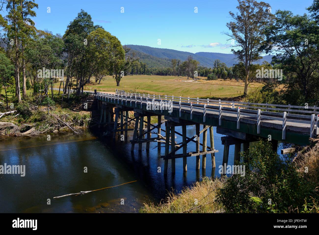 Trestle bridge over Mersey River on Liena Road in Northern Tasmania, Australia - Stock Image