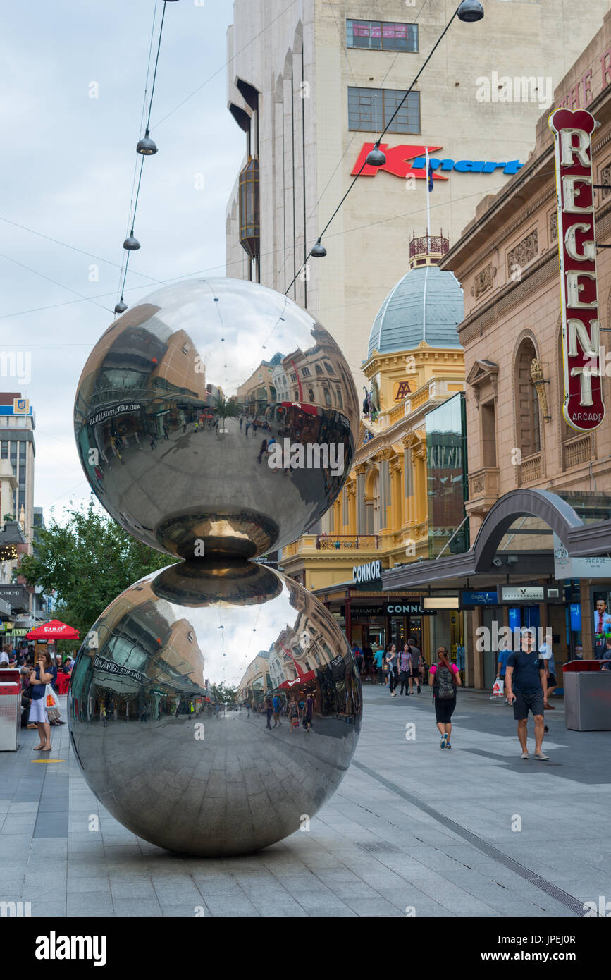 Modern sculpture `The Malls Balls' in Rundle Street Mall the main shopping centre in Adelaide, South Australia. - Stock Image