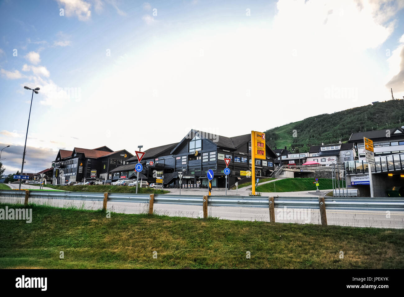 GEILO, NORWAY - JULY 19: Geilo sentrum, a small entertainment complex in the city of Geilo, Norway - Stock Image