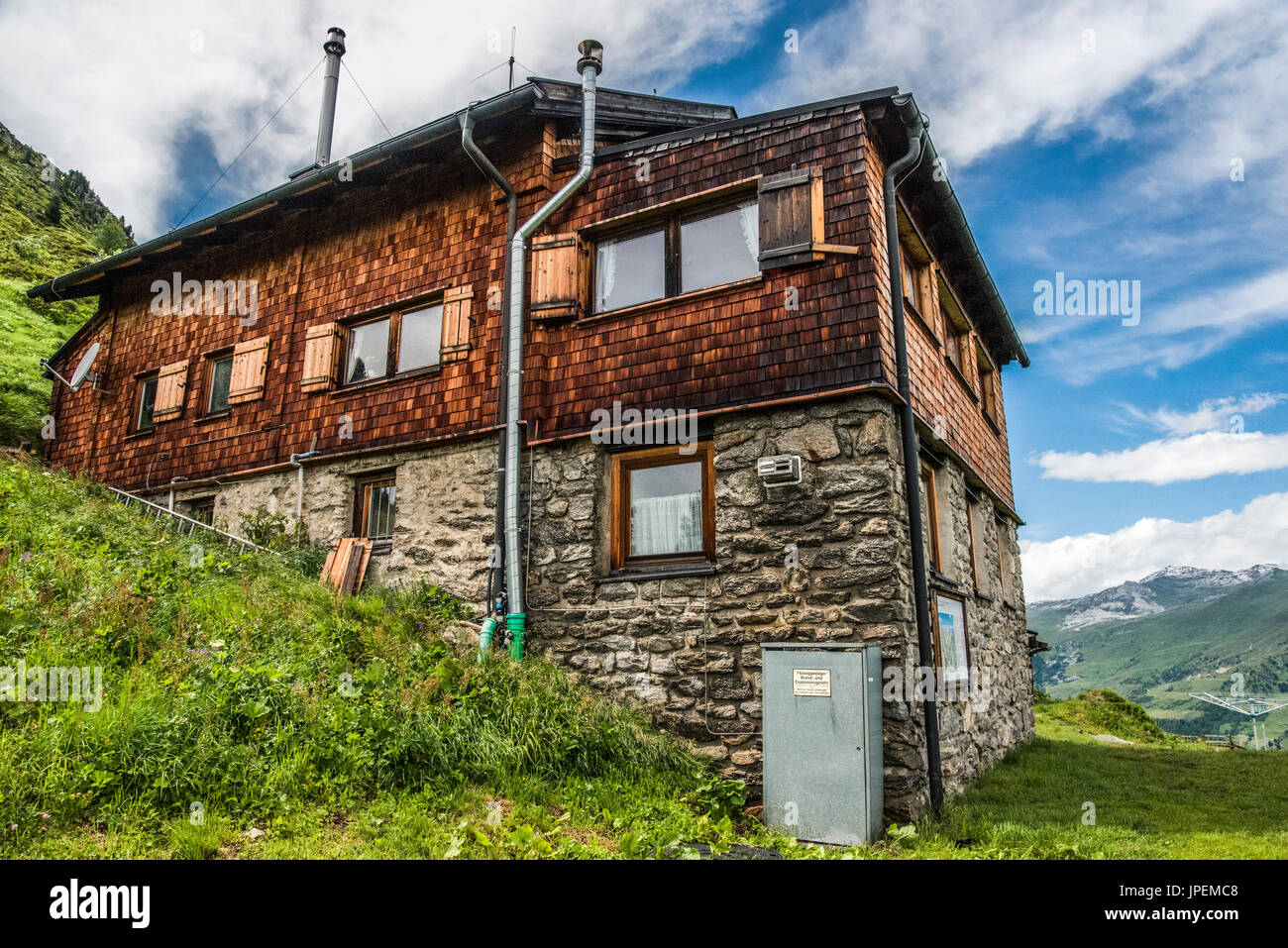 The Gams Hut mountain refuge located above Mayrhofen-Finkenberg in the Austrian Zillertal Alps of Tirol Stock Photo
