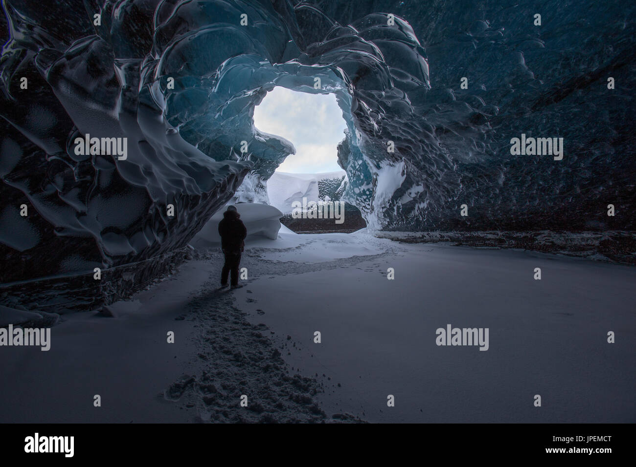 Ice cave in south east Iceland - Stock Image