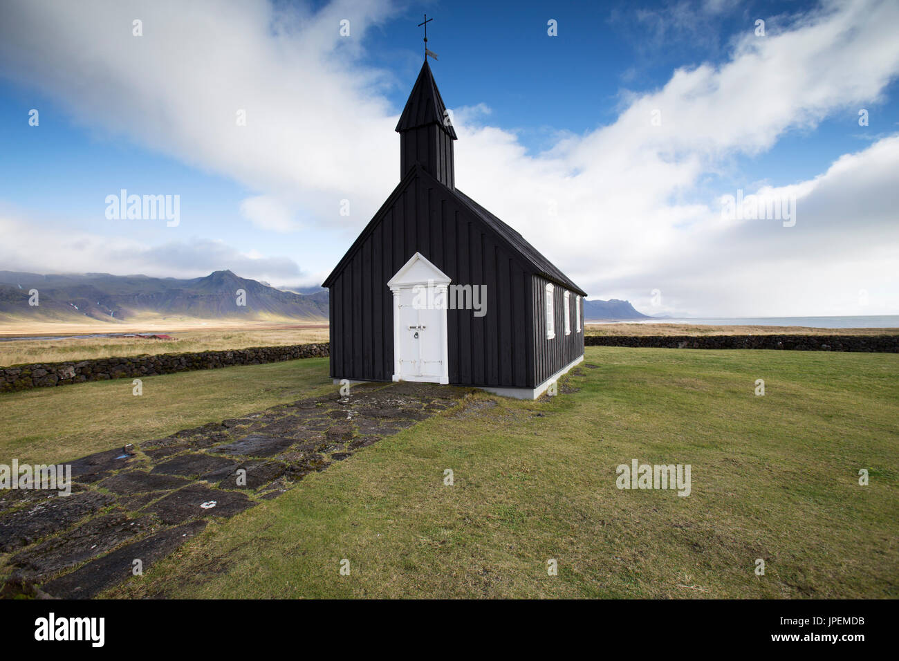 Búðir black church in Snæfellsnes, Iceland - Stock Image