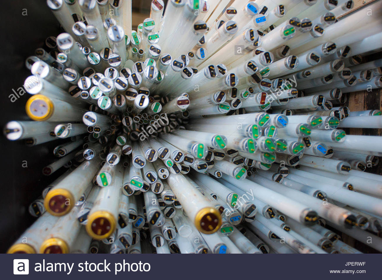 light bulb in a ricylclying plant  ready to be recycled - Stock Image
