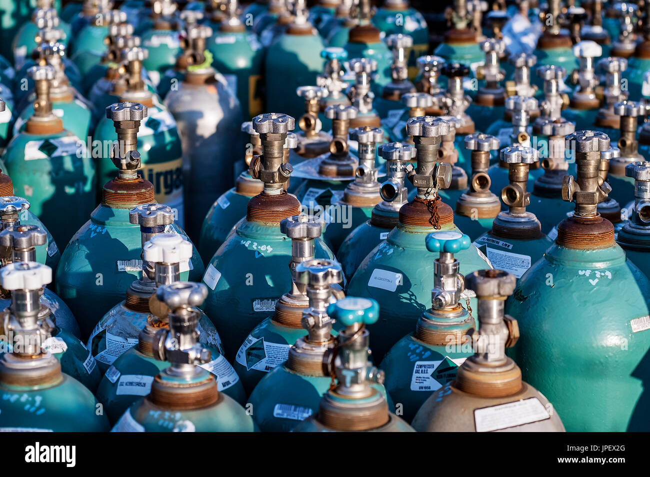 Compressed industrial gas products. - Stock Image