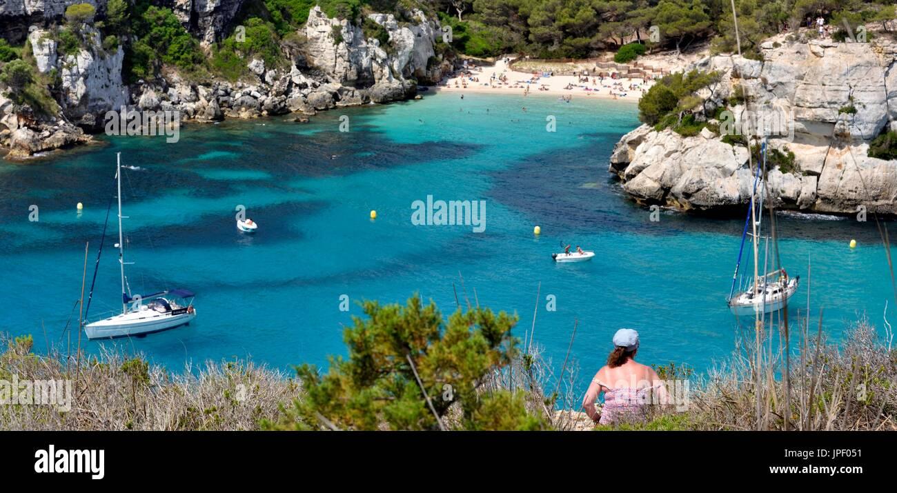 Cala Macarelleta beach  blue lagoon menorca minorca spain - Stock Image