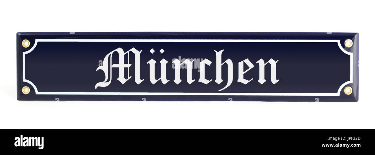Metal banner with city name Munich  (german muenchen Stock Photo