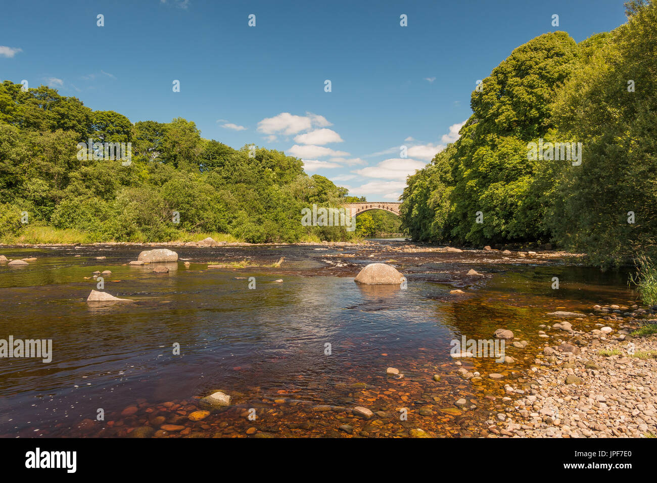 Teesdale Landscape - Winston Bridge and the River Tees on a summer afternoon July 2017 with copy space Stock Photo