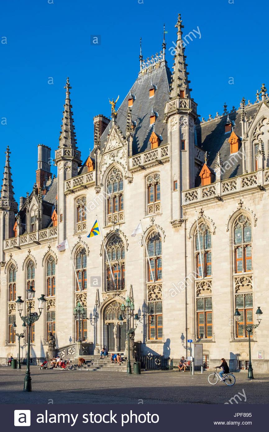 Belgium, West Flanders (Vlaanderen), Bruges (Brugge). Provinciaal Hof (Province Court) of Markt square. - Stock Image