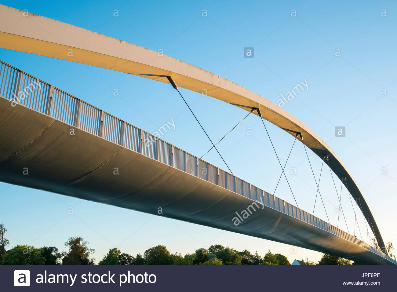 Netherlands, Limburg, Maastricht, Wyck-Ceramique quarter. Hoge Brug pedestrian bridge over the Maas River. - Stock Image