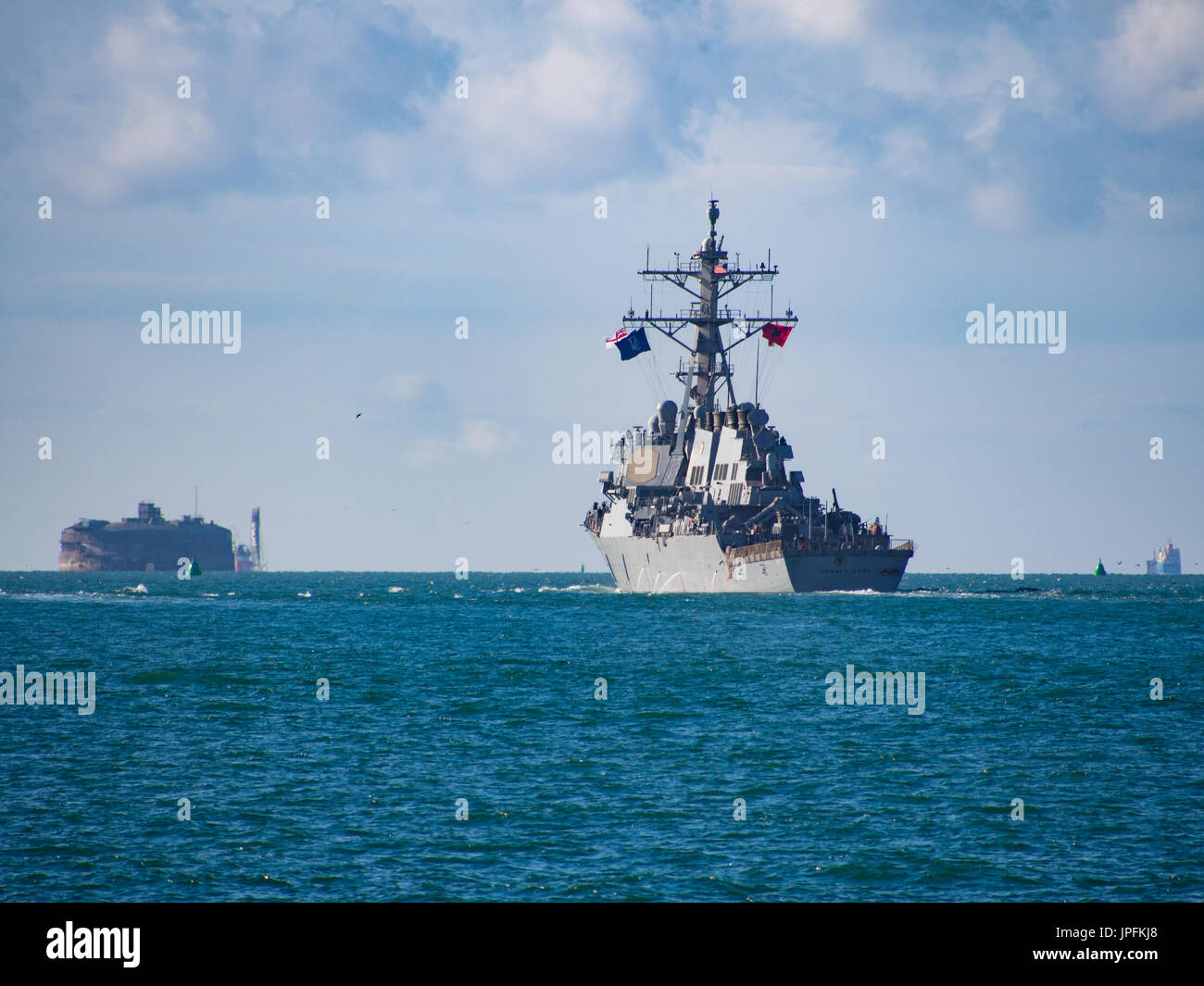 Portsmouth, Hampshire, UK. 01st Aug, 2017. The USS Donald Cook, DDG-75, an Arleigh Burke-class guided missile destroyer, Stock Photo