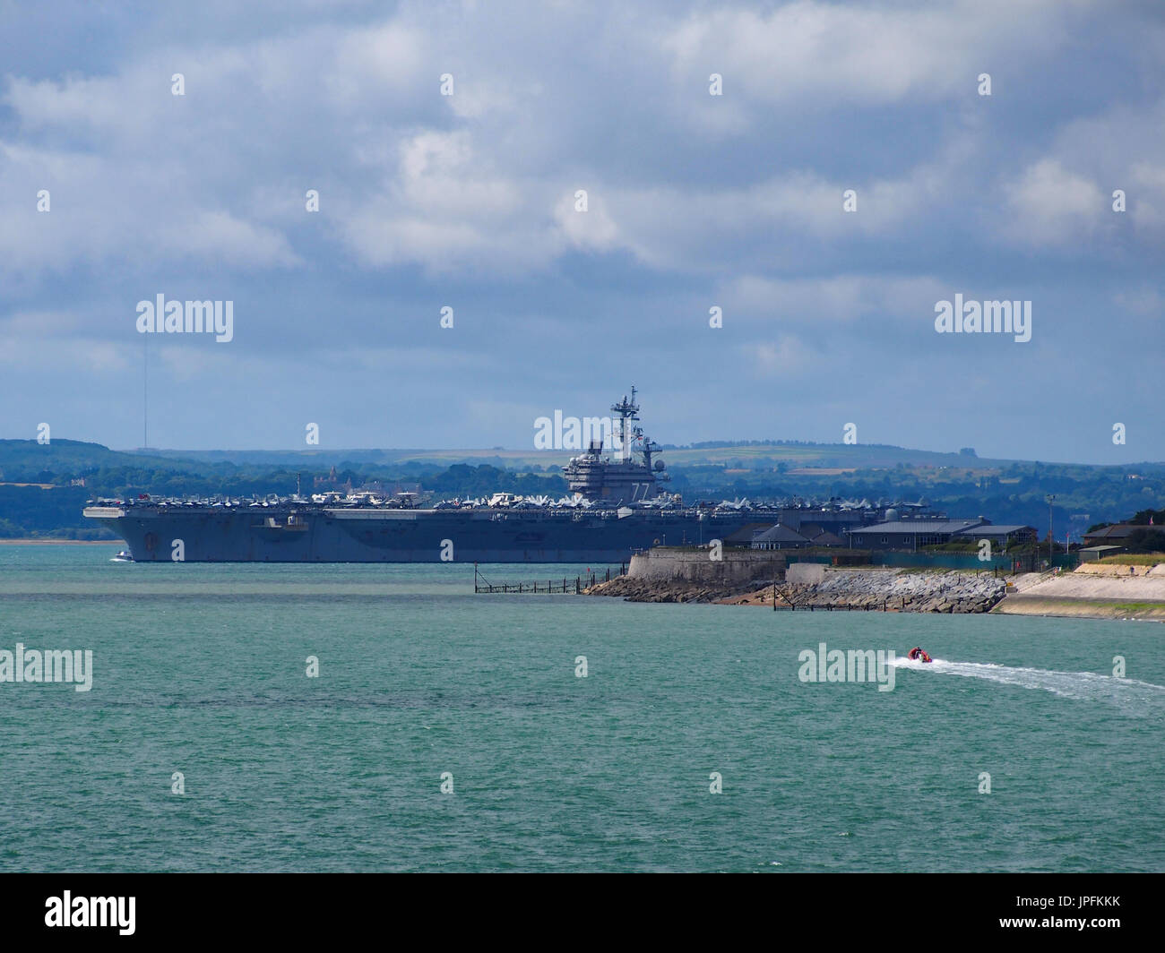 Portsmouth, Hampshire, UK. 01st Aug, 2017.  USS George H W Bush a Nimitz class, nuclear powered aircraft carrier Stock Photo
