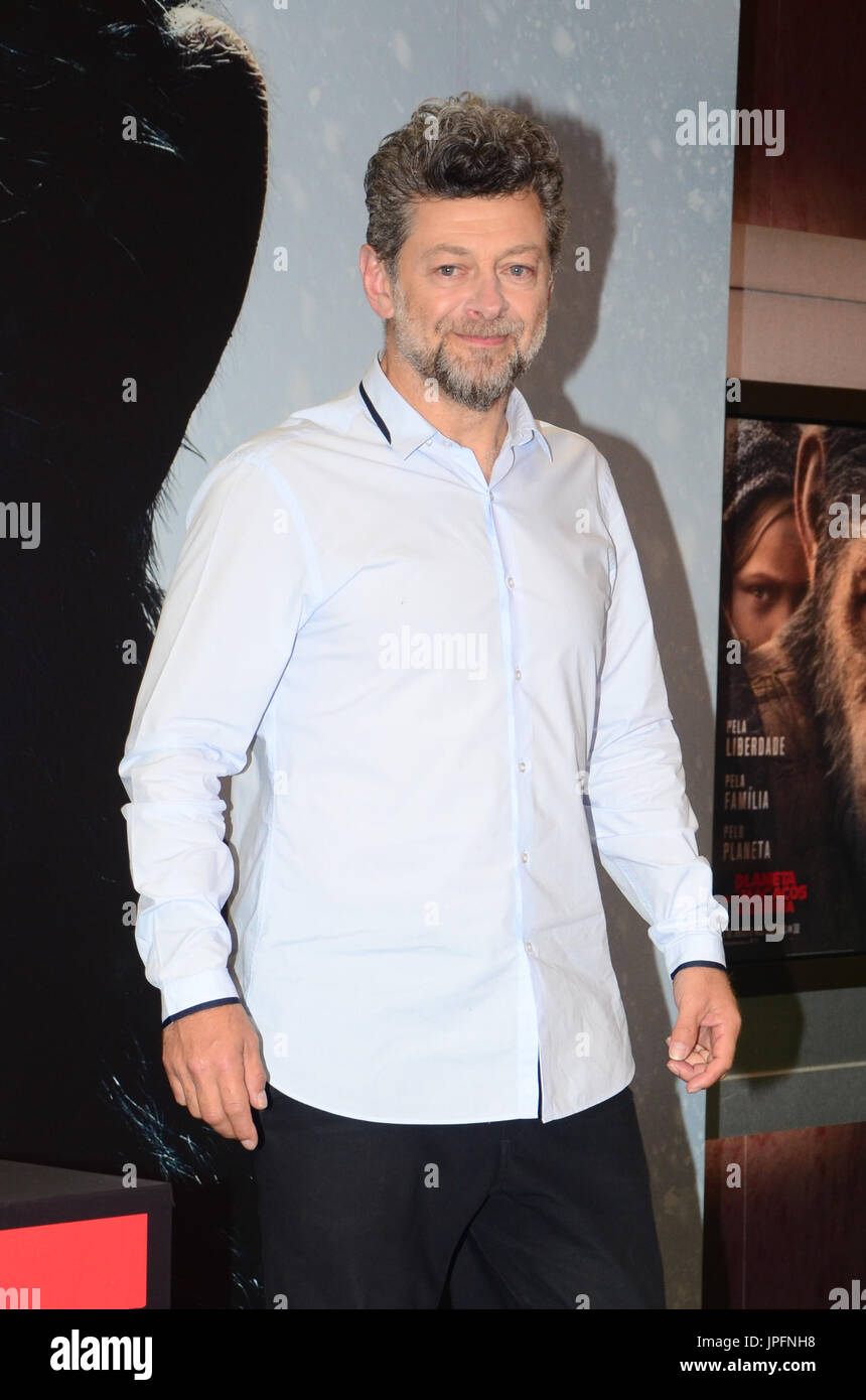 Sao Paulo, Brazil. 1st Aug, 2017. British actor Andy Serkis during a press conference in the movie Planet of the Apes - The War on Eldorado Shopping in the west of Sao Paulo on Tuesday, 01. Credit: Brazil Photo Press/Alamy Live News - Stock Image