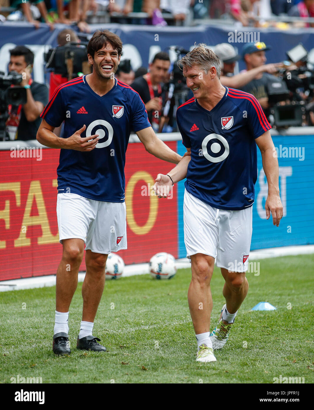 e62ff6c3fcea MLS All-Stars captain Bastian Schweinsteiger (R) and Kaka (R) participate  in a training session prior to the friendly match between Real Madrid and  the MLS ...