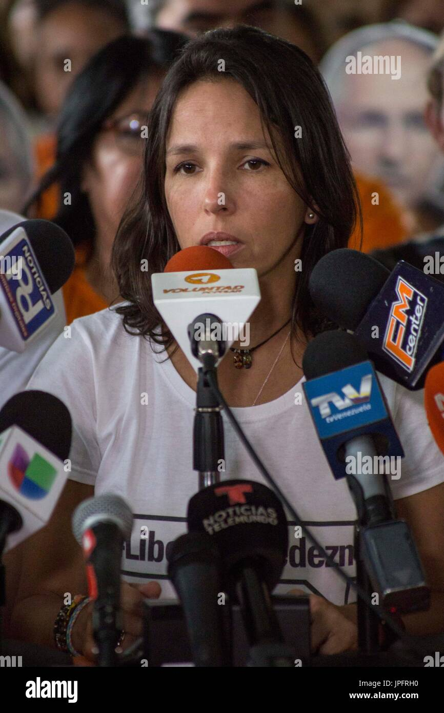 Antonio Ledezma's daughter Oriette Ledezma takes part in a press conference called by Voluntad Popular and Alianza - Stock Image
