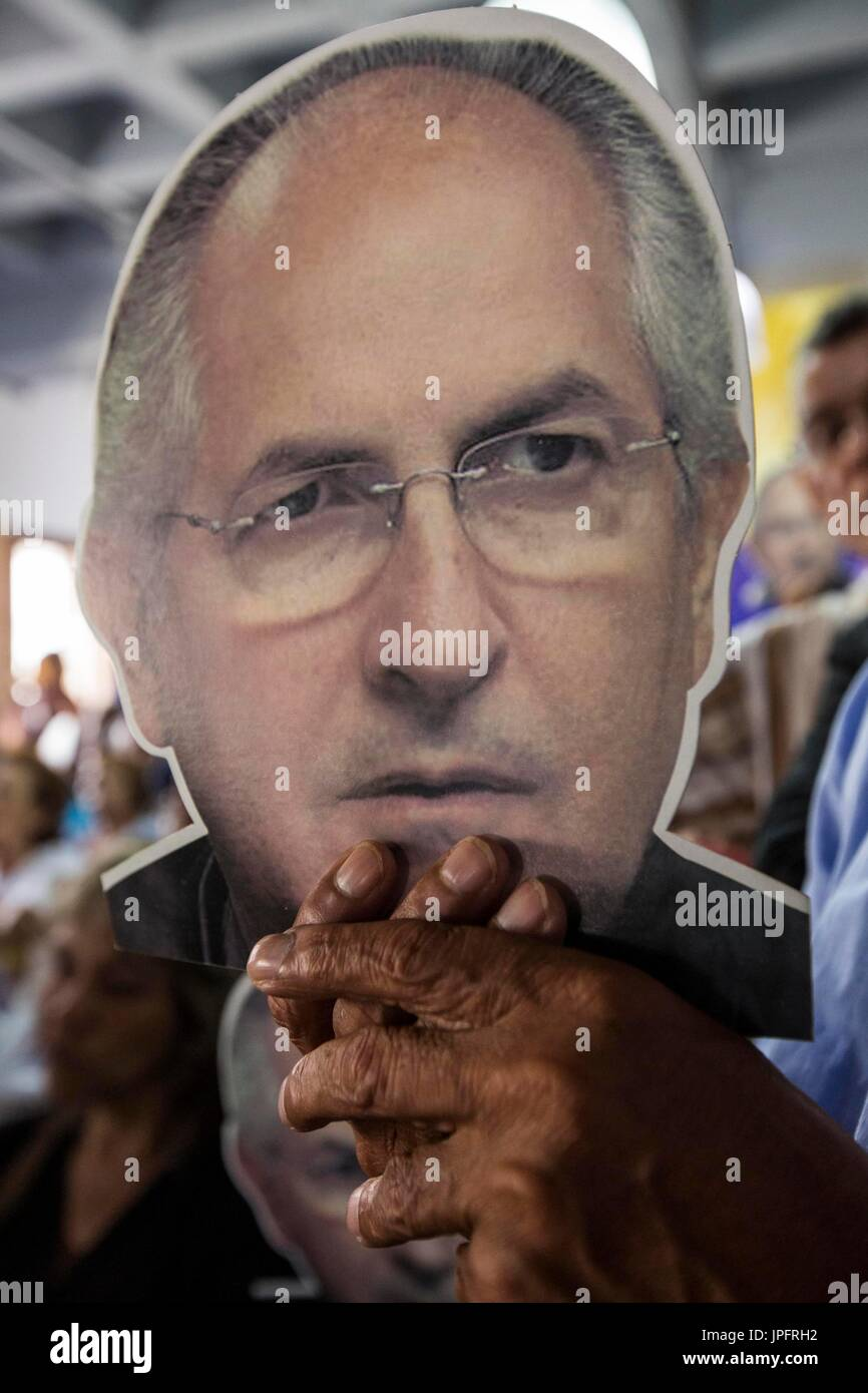 A view of a sign depicting opposition Mayor Antonio Ledezma during a press conference called by Voluntad Popular - Stock Image