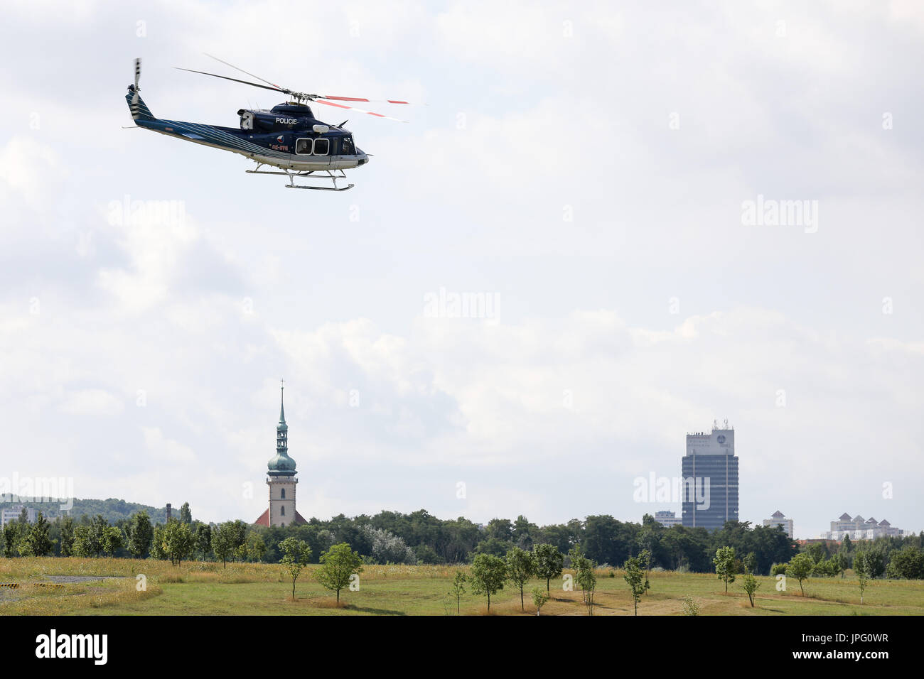 Czech police officers with police dogs flies by a helicopter during the training session of police dogs specializing Stock Photo