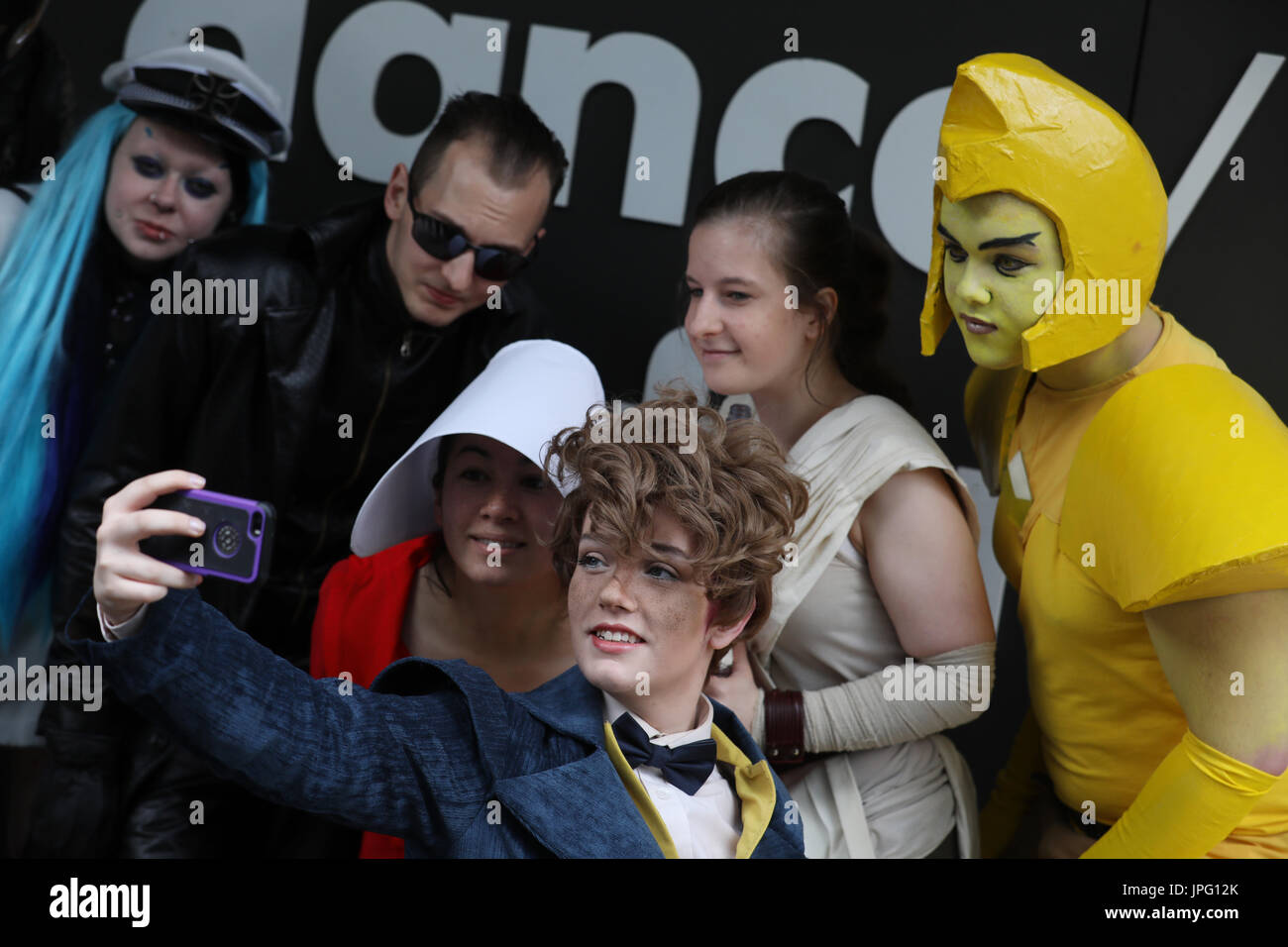 "London, UK. 2nd Aug, 2017. Cosplayers pose during a photocall for the ""Into the Unknown : A Journey through Science Stock Photo"
