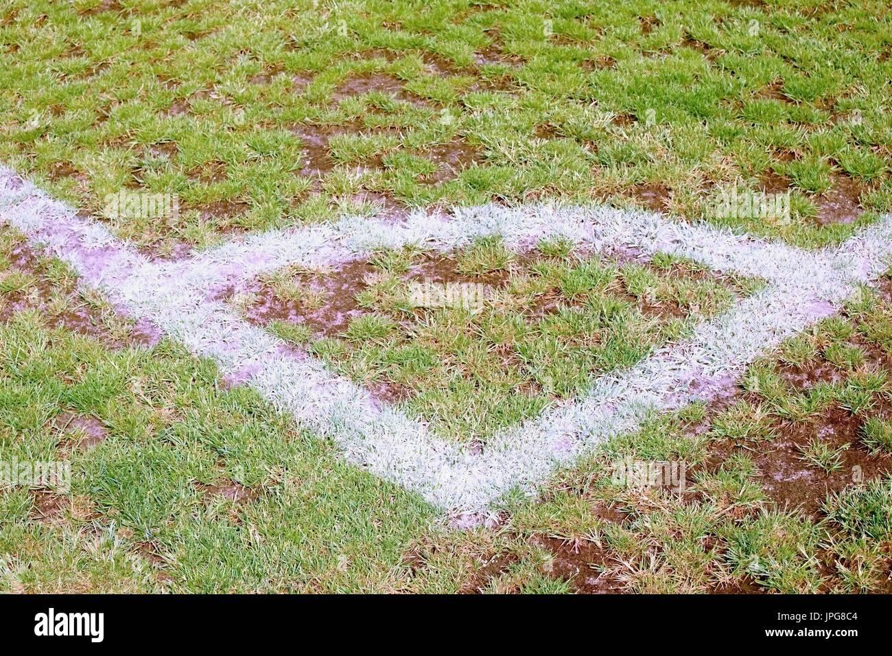 Field corner of outdoor football playground, natural grass turfs - Stock Image