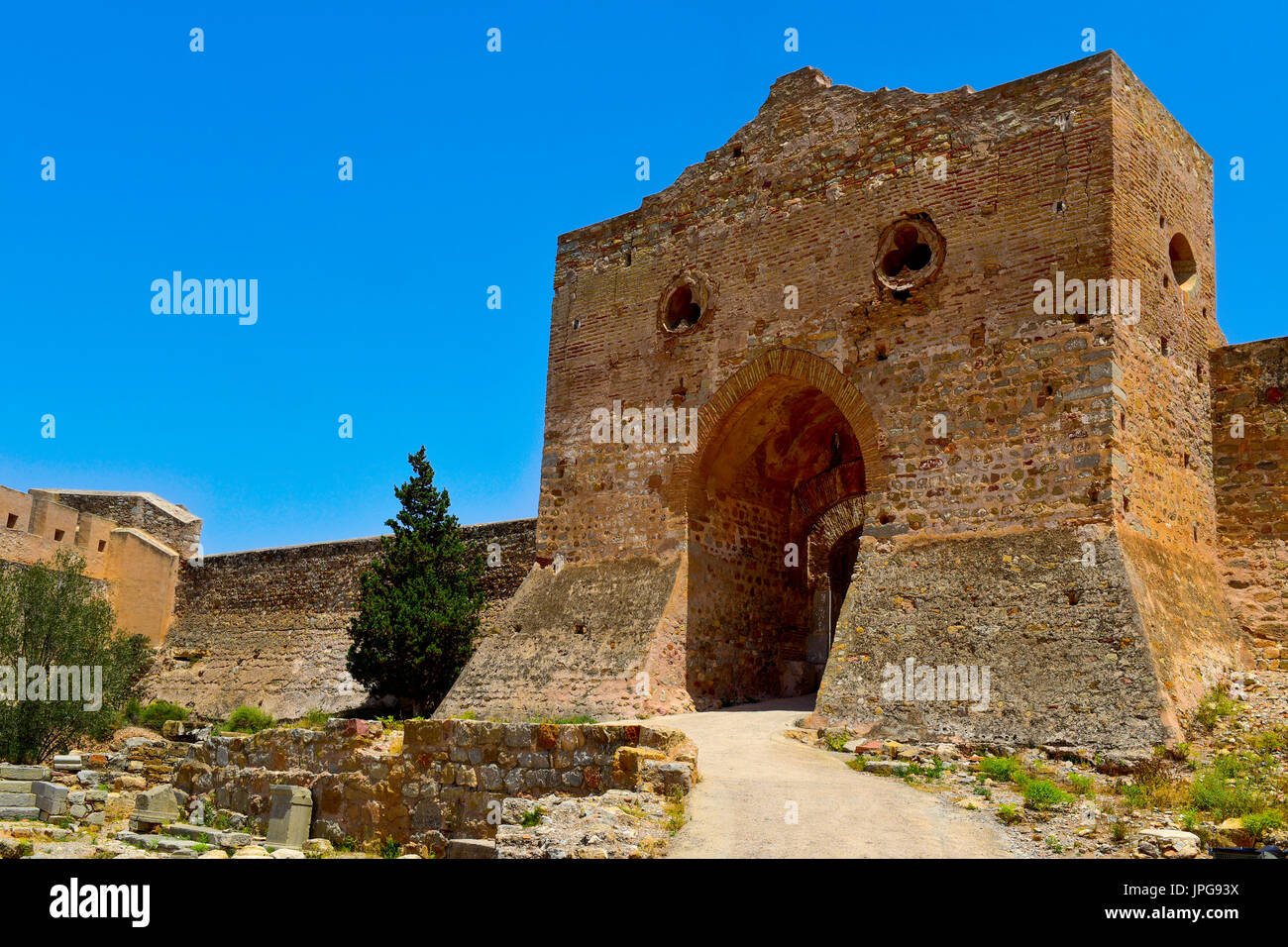 a view of the remains of the Citadel of Sagunto, Spain, in the top of a hill - Stock Image