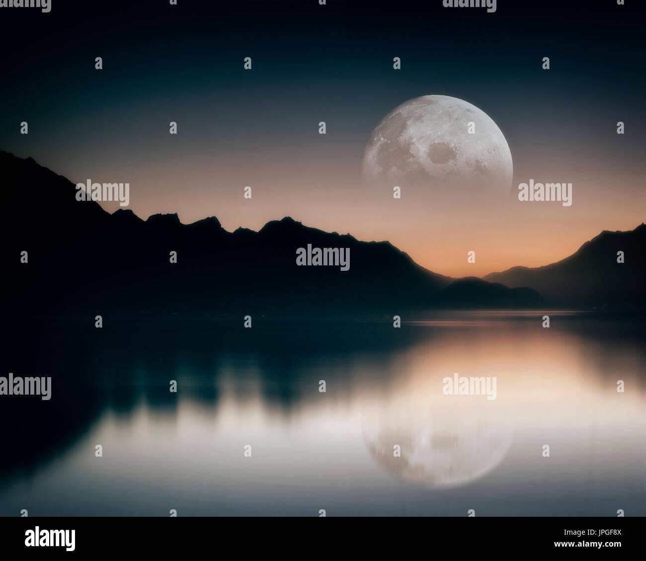 PHOTO ART: Moon over Lake Geneva, Vaud, Switzerland - Stock Image