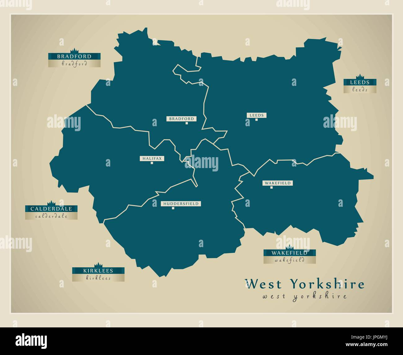 Modern Map West Yorkshire Metropolitan County With District Labels