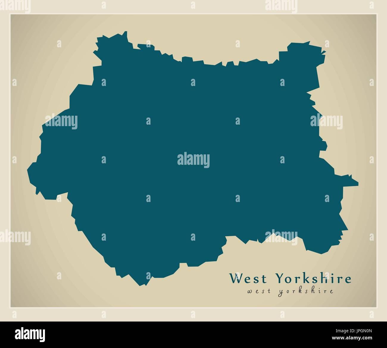 Modern Map West Yorkshire Metropolitan County England Uk Stock