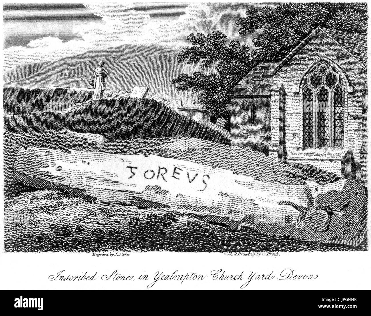 Engraving of an Inscribed Stone (Goreus Stone) in Yealmpton Church Yard, Devon scanned at high res from a book of 1808.  Believed copyright free. - Stock Image