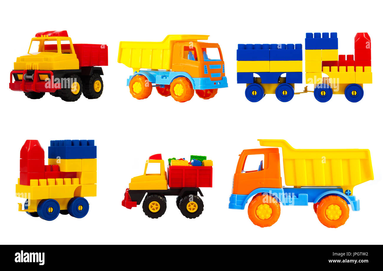 bright multi-colored toys for children isolated on a white background, a set. toys transport - machine truck, train, locomotive,  pickup - Stock Image