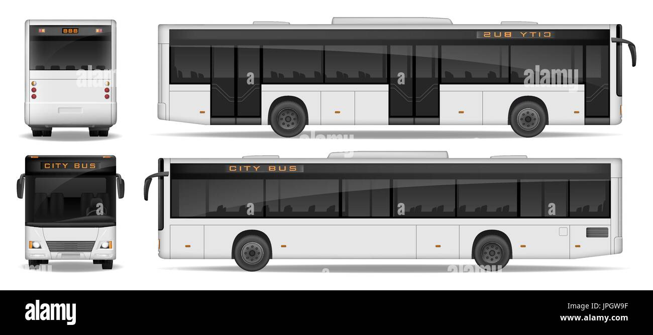 Realistic City Bus template isolated on white background. Passenger City Bus mockup side, front and rear view. Transport advertising design. Vector illustration. - Stock Vector
