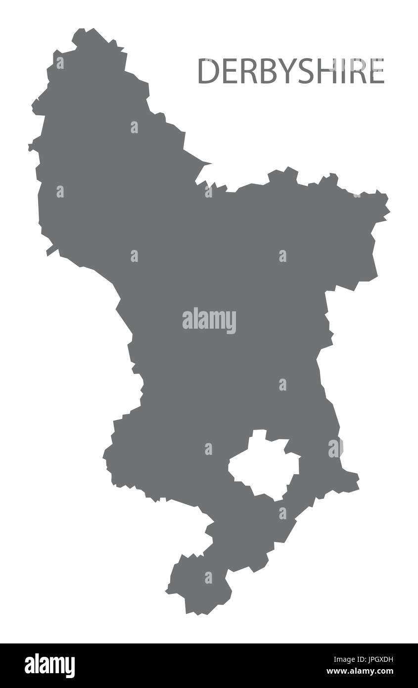 Map Of England Derbyshire.Derbyshire County Map England Uk Grey Illustration Silhouette Shape