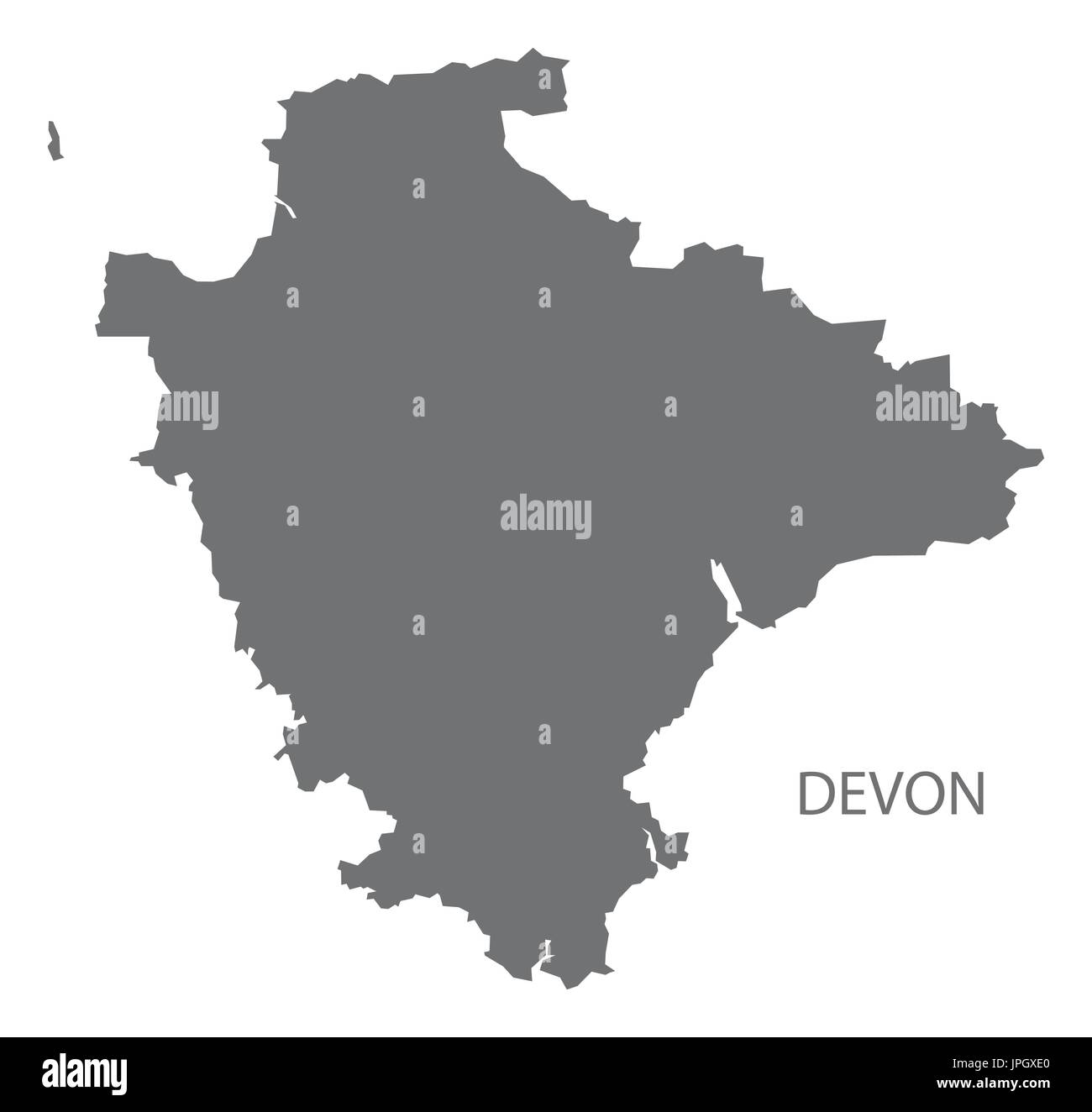 County Map Of England.Devon County Map England Uk Grey Illustration Silhouette Shape Stock