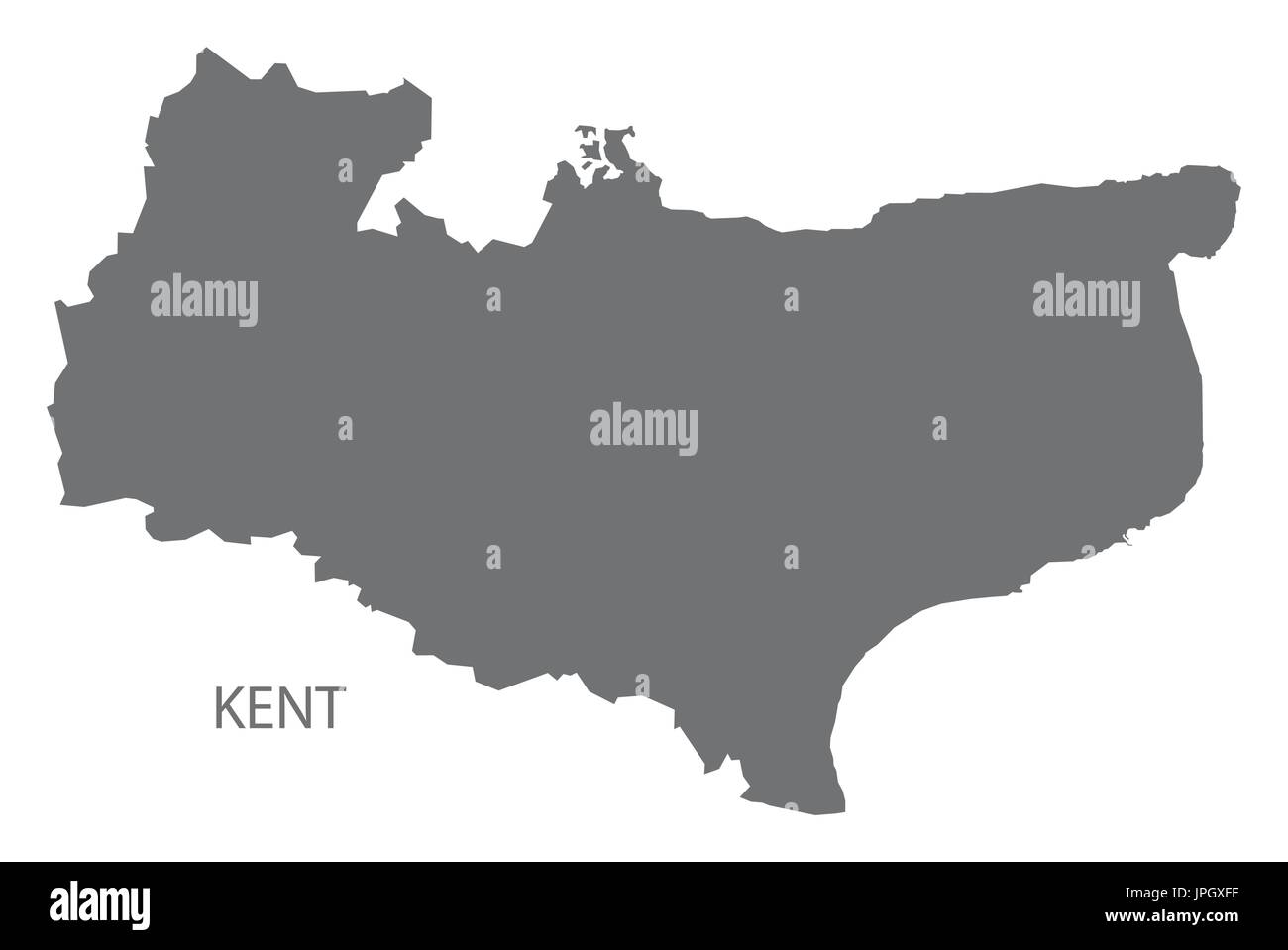 Kent Map Of England.Kent County Map England Uk Grey Illustration Silhouette Shape Stock