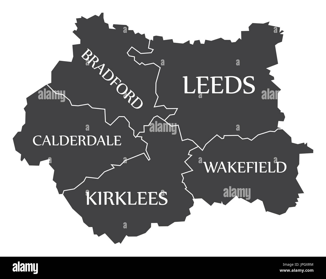 West Yorkshire metropolitan county England UK black map with white