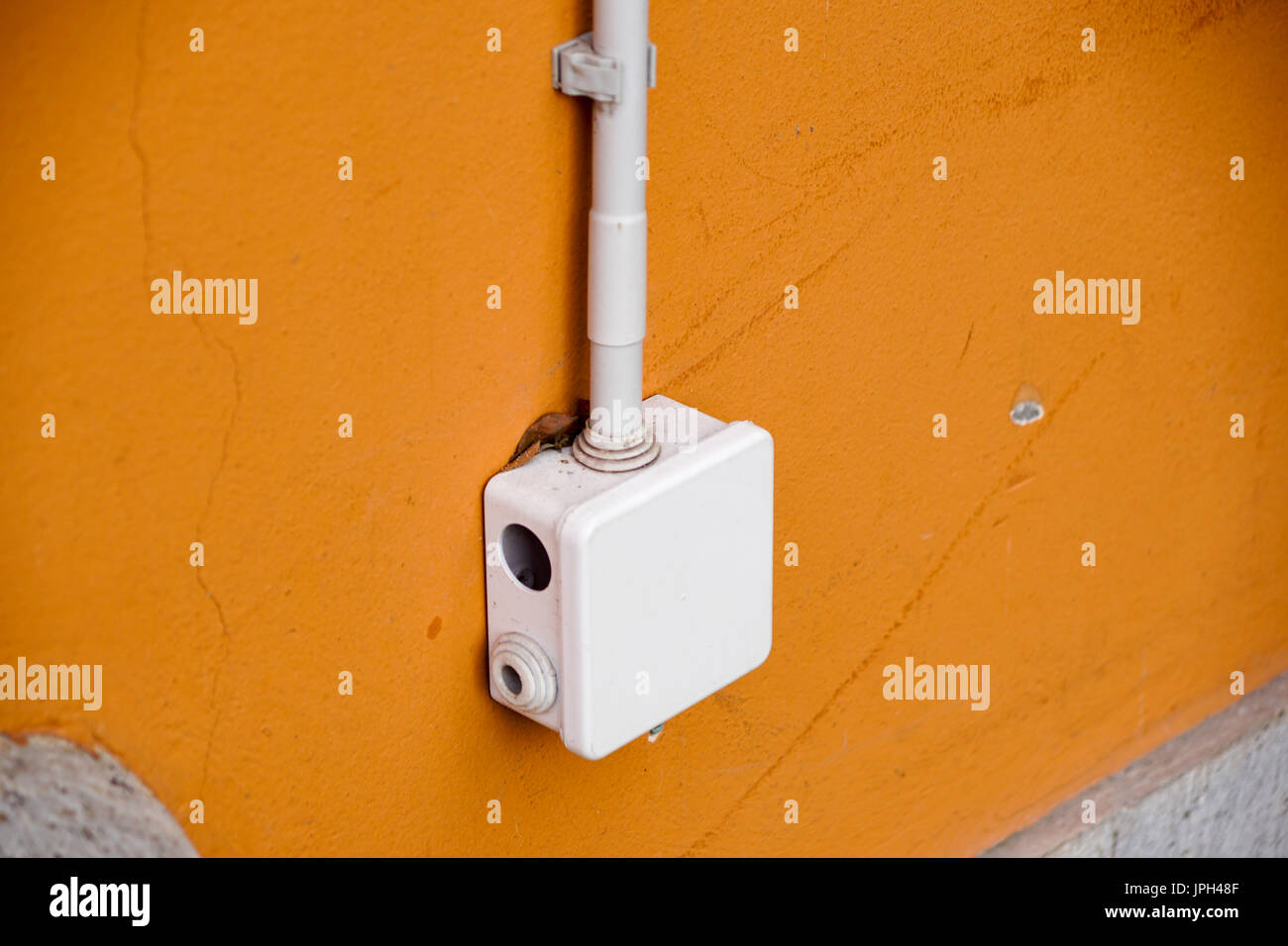 Yellow Wire Fuse Electric Stock Photos Old Box Panel Splice Electrical For Splicing Out Dooron Wall Image