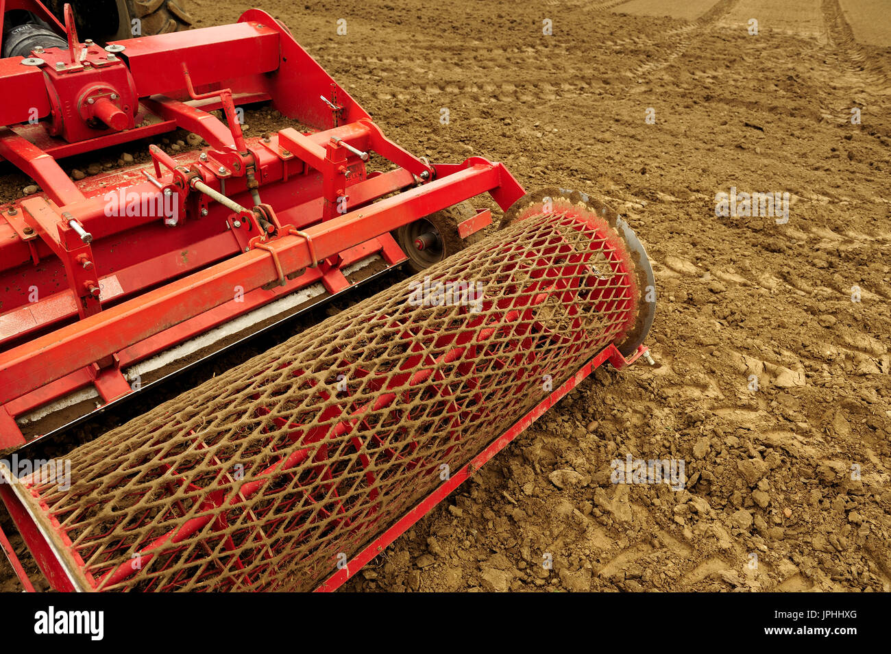 spring, work, field, sowing, seeds, agroculture, equipment, mechanized, cultivation, work, job, weather, tractor, - Stock Image