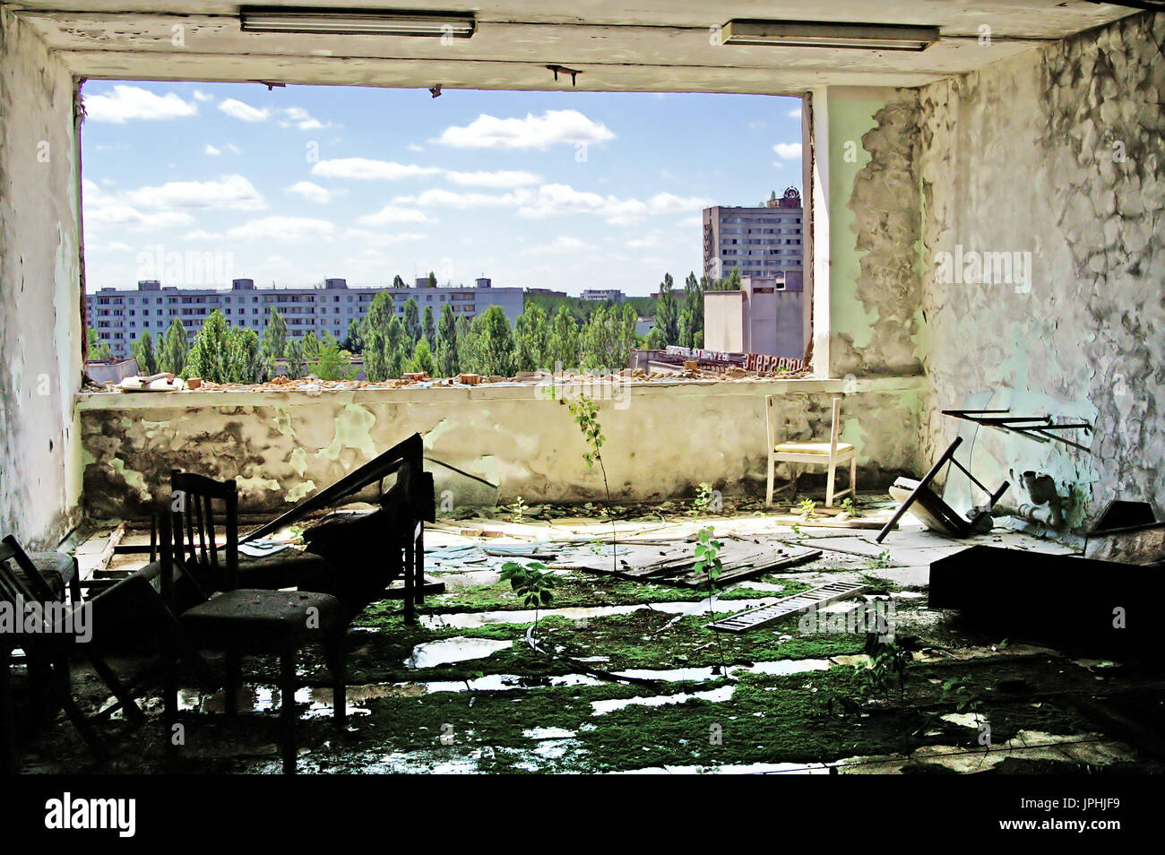Abandoned Building Interior in Chernobyl Zone. Chornobyl Disaster - Stock Image