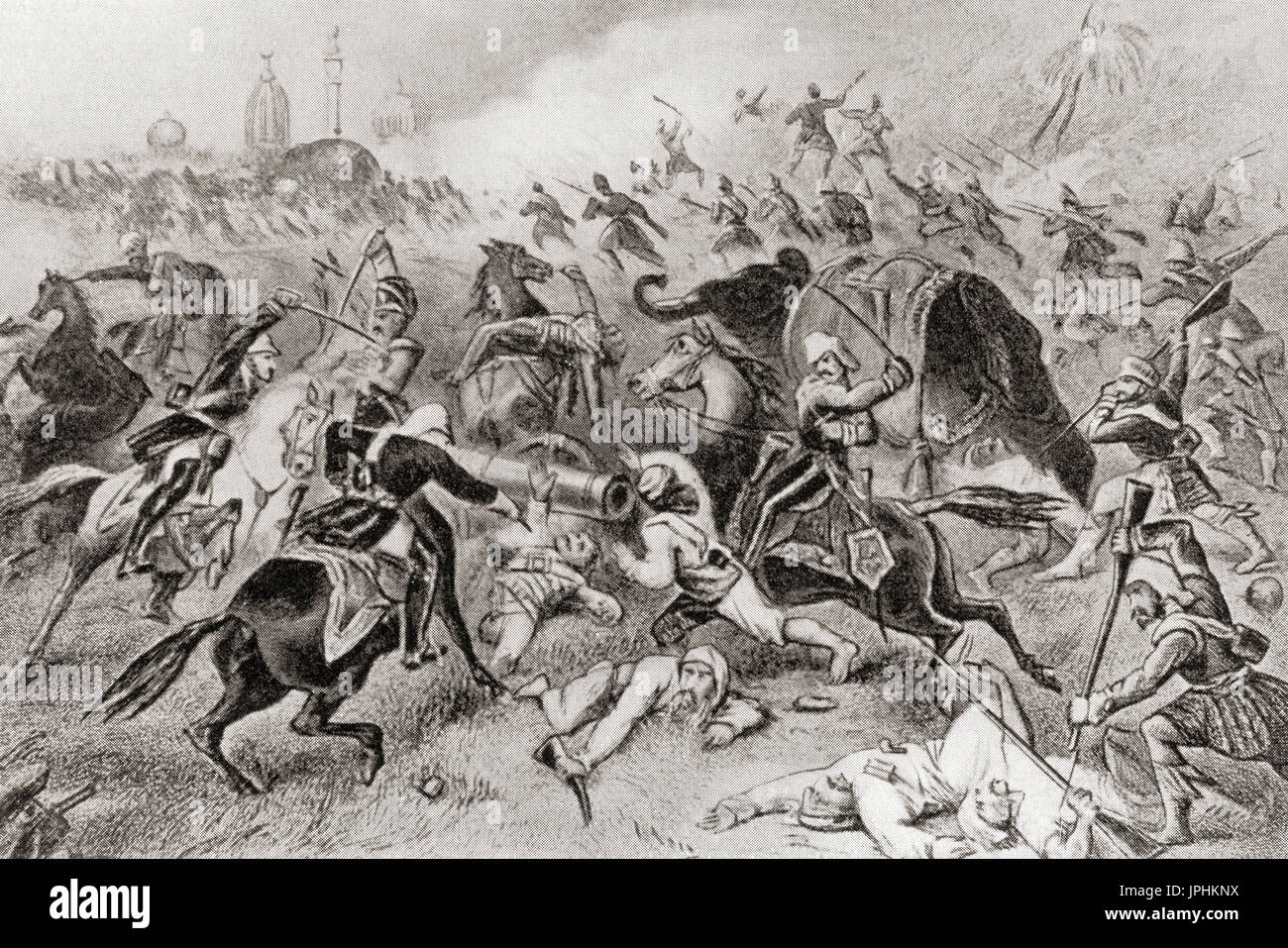 The defeat of Tantya Tope by the British at Cawnpore, India during the Indian Rebellion of 1857.  Ramachandra Pandurang Tope, aka Tatya Tope, Tantya Tope or Tantia Topi, 1814 –  1859.  Indian leader in the Indian Rebellion of 1857 and one of its notable generals.  From Hutchinson's History of the Nations, published 1915. - Stock Image
