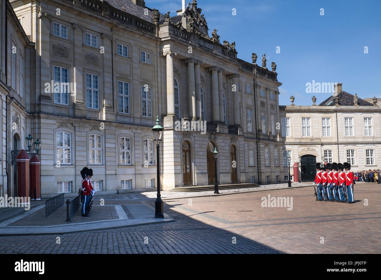 Changing of the guard in front of the Amalienborg Palace, Copenhagen, Denmark. Stock Photo