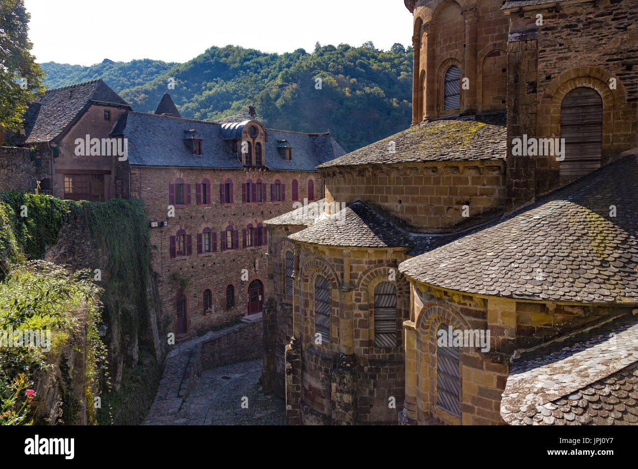 Views of the medieval village of Conques, France - Stock Image