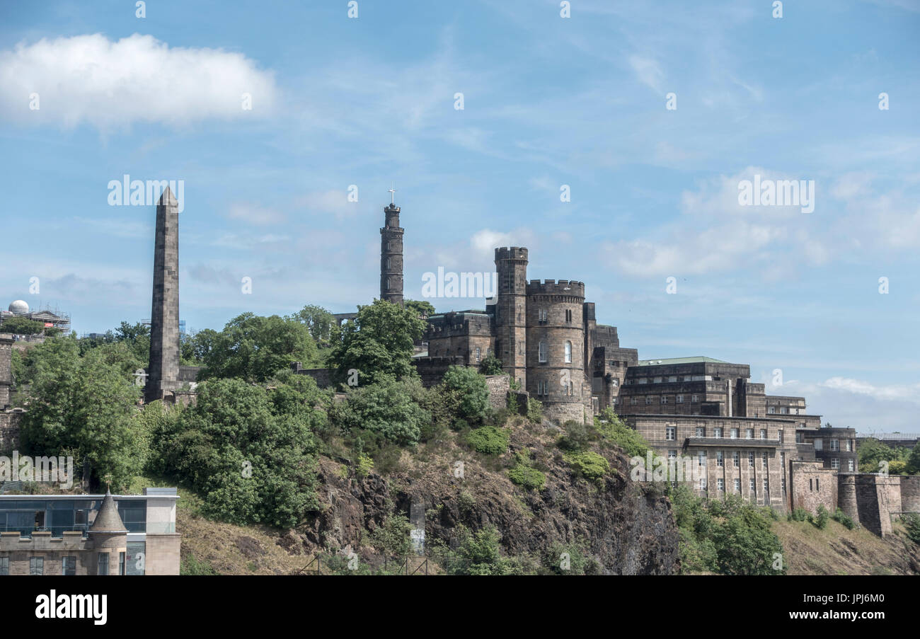 Calton Hill Seen From Edinburgh Old Town With The Nelson Monument, The Governor's House of the Old Calton Jail And Stock Photo