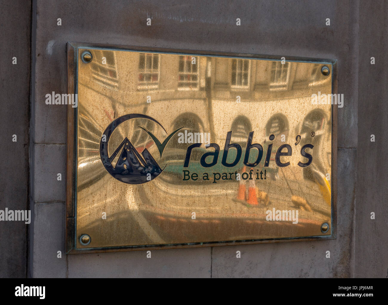 The Rabbies Tour Company Logo Outside Their Retail Location In Edinburgh Scotland On A Brass Name Plate - Stock Image