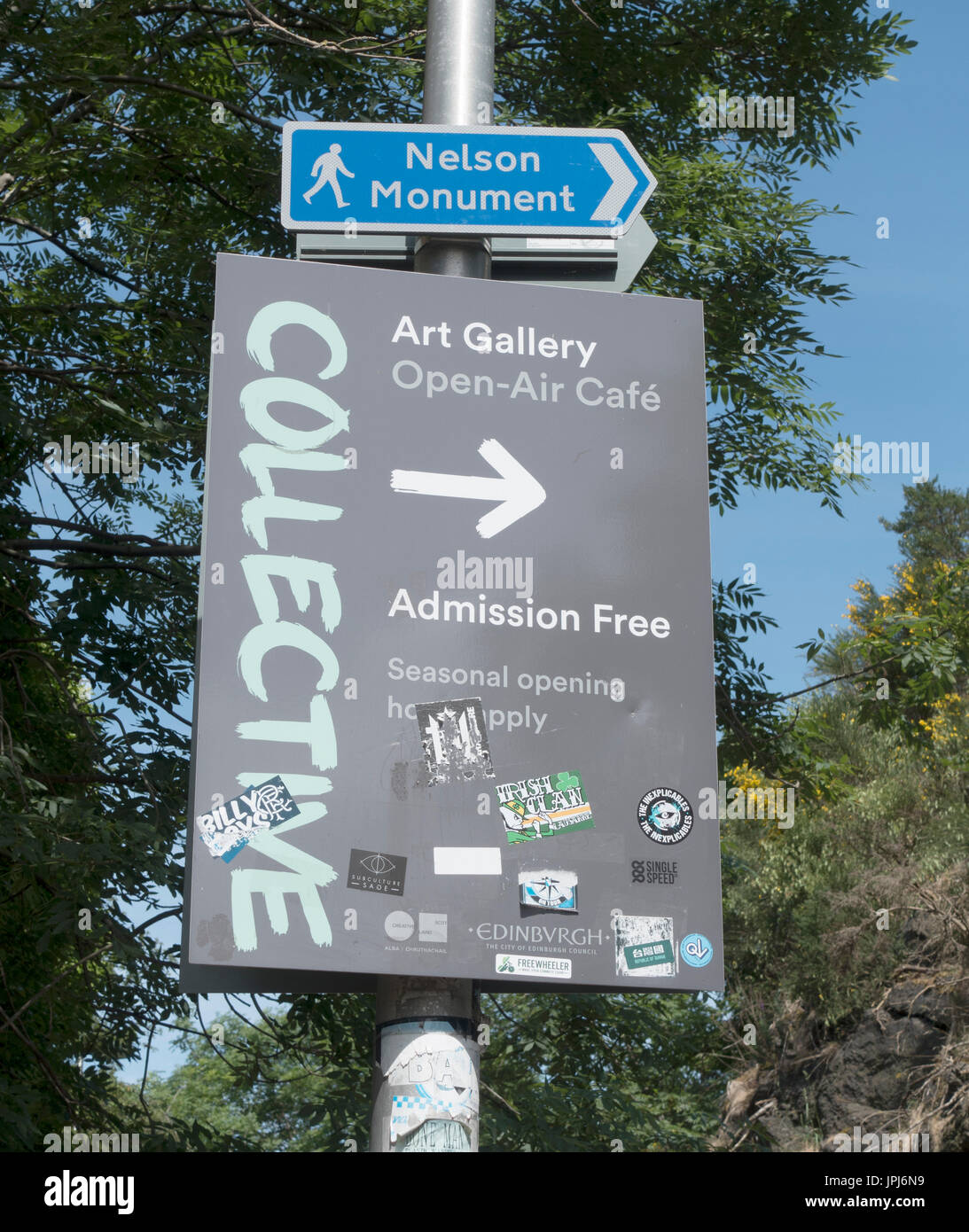Street Sign Post For Nelson Monument And The Collective Art Gallery At Calton Hill New Town Edinburgh Scotland Stock Photo